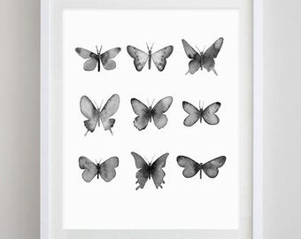 Butterflies Black and White Watercolor Art Print