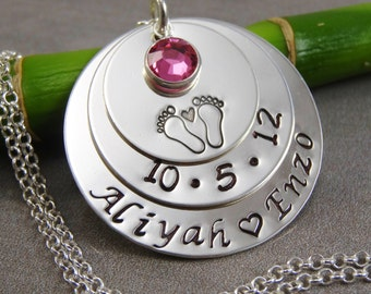 Hand Stamped Jewelry - Personalized Jewelry - Mother Necklace - Sterling Silver - Names Birthdate Footprints and Birthstone - Twin Necklace