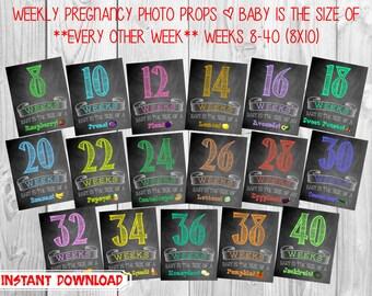 Printable Pregnancy Countdown Chalkboard Photo Props | Bi-Weekly Series | Weeks 8-40| INSTANT DOWNLOAD | by MMasonDesigns