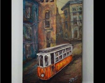 "Original oil painting ""Lisboa Trams""  by artist Pamela Platt 8 x 16"""