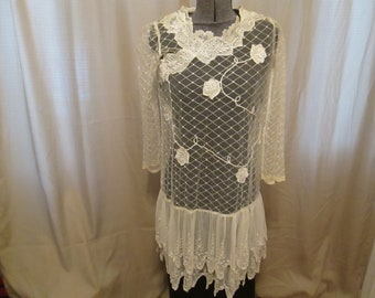 Vintage Sheer Ivory Lace Dress. Made in Italy.