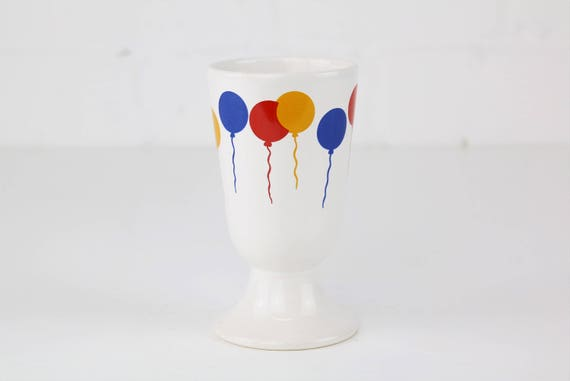 Vintage ceramic mug with colorful balloon print German pottery balloon print