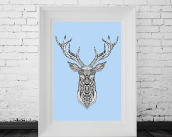 Reindeer Print Blue, Digital Print, Minimal Animal Art, Modern Wall Poster, Abstract Art, Modern Deer Poster