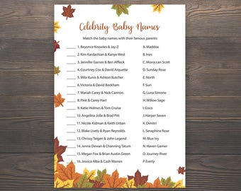 Fall Baby shower games, Celebrity baby name game, Autumn Baby shower, Fall Leaves, Printable baby shower, Celebrity baby names, S019