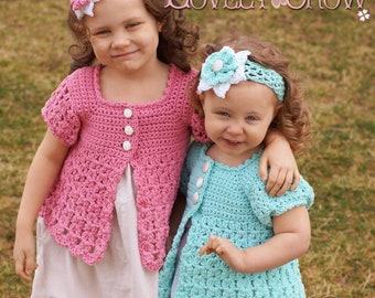 Baby Cardigan Crochet Pattern BELLA REBEKAH CARDIGAN digital
