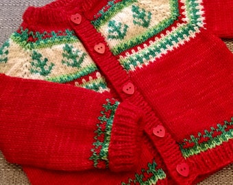 """Christmas tree knitting cardigan sweater baby child pattern approx 6-12 months and 1-2 years 21"""" and 23"""" chest"""