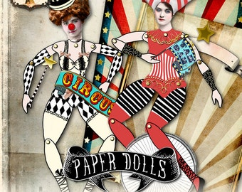 CIRCUS PAPER DOLL articulated printable altered art  - Digital collage sheet scrapbooking mixed media collage  - instant download - pp366