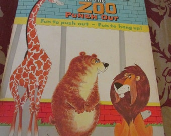Animals in the Zoo Punch Out 1962 Whitman Publishing C. Childrens Book