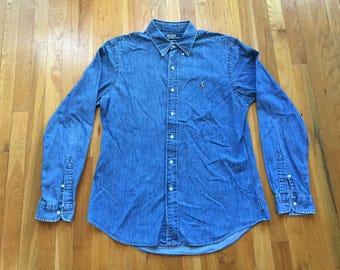 Vintage Ralph Lauren Denim shirt with metal toggles ala 1980s sz L EaTtMI