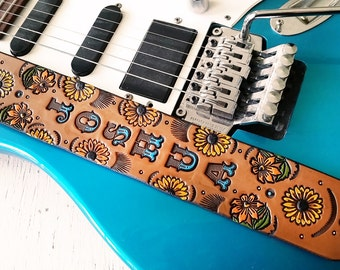 Custom Leather Guitar Strap - Acoustic, Electric or Bass - Sunflowers - Personalized Sunflower Floral Design - Hand Tooled and Painted