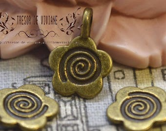 Set of 10 QZW065 charms, Bronze, flowers, manual, jewelry, charms