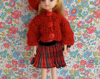 HANDKNIT CARDIGAN and  BERET plus Vintage Pleated Skirt for thin 8-9in/18-20cm dolls like Betsy McCall, Skinny Ginny and Takara Licca Chan