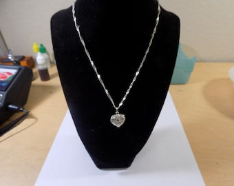 Stunning sterling silver heart and sterling silver 18 inch necklace