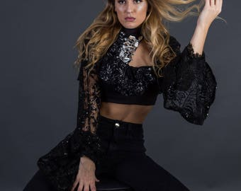 Black Lace senorita top