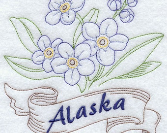 Alaska - Forget-Me-Not Embroidered Flour Sack Hand/Dish Towel