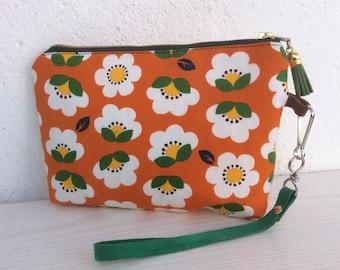 Wristlet, small purse, simple clutch, evening bag, zipped purse, original design, japanese fabric, gift for her, girlfriend gift