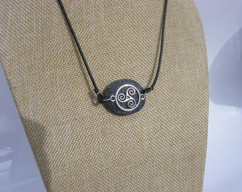 Triskelion Celtic Irish Pebble Pendant Necklace