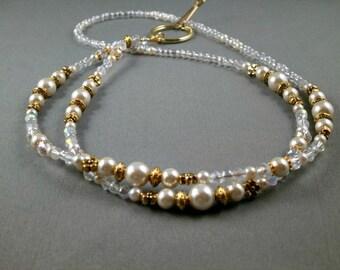 Gold tone beaded breakaway lanyard  white glass pearls and crystals, select size long ID badge or key card holder, gift under 20