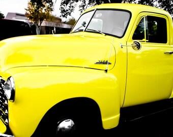 Yellow Chevrolet 3100 Truck Side VIew Fine Art Print Car Antique