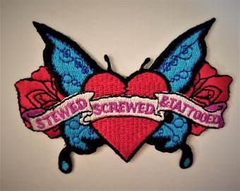 STEWED SCREWED TATTOOED Patch 3x5 Inch Medium Embroidery Iron or Sew On Rare and Vintage