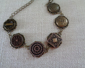 Bronze Button Bracelet w extender chain