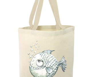 Heavy Duty Canvas Tote Bag - Piranha, Piranha Tote Bag, Beach Tote Bag,The Toad's Totes,Reusable Tote, Project Bag