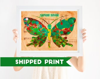 PRINT Nursery Art Butterfly, Boho, Green Butterfly, Gender Neutral Nursery, Wall Art, Girls Nursery Art, Boys Nursery Art
