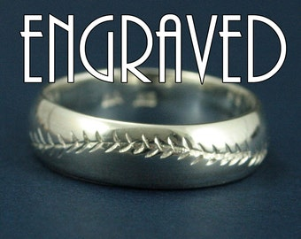 America's Pastime--Personalized--6mm Wide--Sterling Silver--Baseball Ring--Hand Cut Baseball Pattern--Hand Made Ring--Men's Wedding Ring