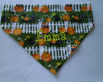 Halloween,  Cats and Pumpkins, Bandana, Dog Scarf, Dog Clothes, Pet Grooming, Holidays, Dog Personalized, Photo Shoot, Pet holiday pictures