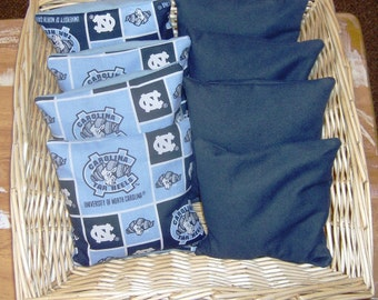 8 PC Corn Hole Game Bags 4 Carolina Tarheels and 4 Navy Blue Game Bags