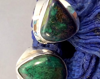 Size 6 Sterling Silver Ring. Chrysocolla, Green. free US ship