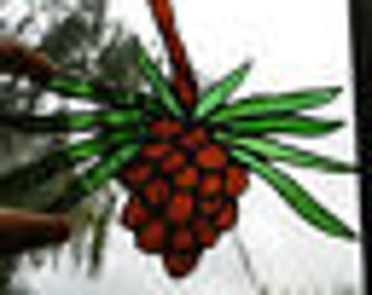 Stained Glass Pine Cone Window Hanging