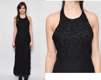 Vintage 90's Beaded Black Halter Backless Dress