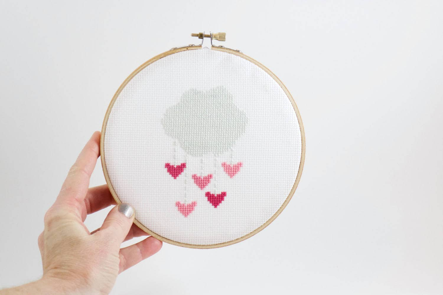 Pink hearts cross stitch kit love embroidery design art valentines sold by dandelionstitchery solutioingenieria Image collections