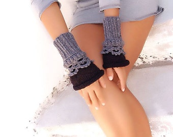 Fingerless mittens Crochet, knit, Arm Wrist Warmers, Gray, Black gloves, gift for her, knit accessory