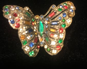 VTG Butterfly Broach Pin Pot Metal Rhinestones