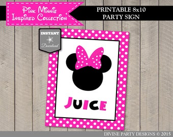 INSTANT DOWNLOAD Printable Hot Pink Mouse 8x10 Juice Party Sign / Hot Pink Mouse Collection / Item #1759