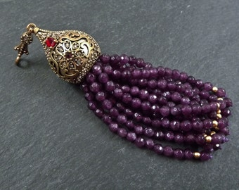 Large Long Plum Purple Facet Cut Jade Stone Beaded Tassel with Crystal Accents - Antique Bronze - 1PC