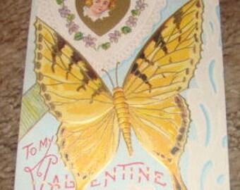 LAST CHANCE SALE 2 Vintage Valentine Postcards (Butterflies)