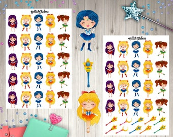Sailor Moon Anime Chibi Girls Stickers, Planner Stickers, Chibi Girl Stickers, Kawaii Stickers, Anime Stickers, Sailor Moon Crystal,Fantasy