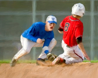 Baseball Canvas Print Put Out At Second Base Fine Art Giclee Print Sports Home Decor Wall Art