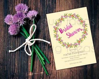 Floral Wreath Watercolor Printable Bridal Shower Invitation,Wedding Invitation