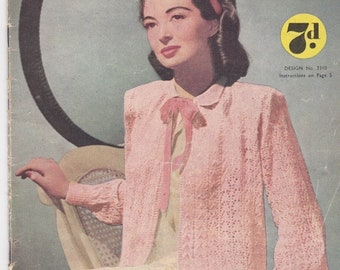 ON SALE Woolworths Hand Knits Knitting Pattern For Women, Children and Babies No 26 - Vintage 1940's, Jumper, Sweater, Cardigan, Jacket, Bla
