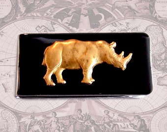 Rhino Money Clip Inlaid in Hand Painted Enamel Neo Victorian Safari Inspired Vintage Style Custom Colors and Personalized Option