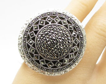 925 sterling silver - marcasite spaceship sz 7 cluster ring - r1092