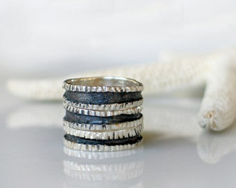 Silver Stacking Ring set, Stacking Texture band Rings - 3 Sterling silver band rings
