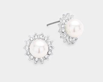 ZIRCONIA  PEARL STUD Earrings