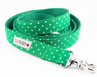 Kelly Green Dot Dog Leash