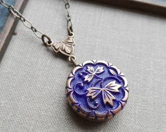 Golden Leaves, Royal Blue, Vintage Le Chic Glass Button Necklace