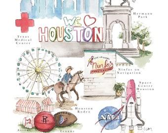 Houston City Map Print